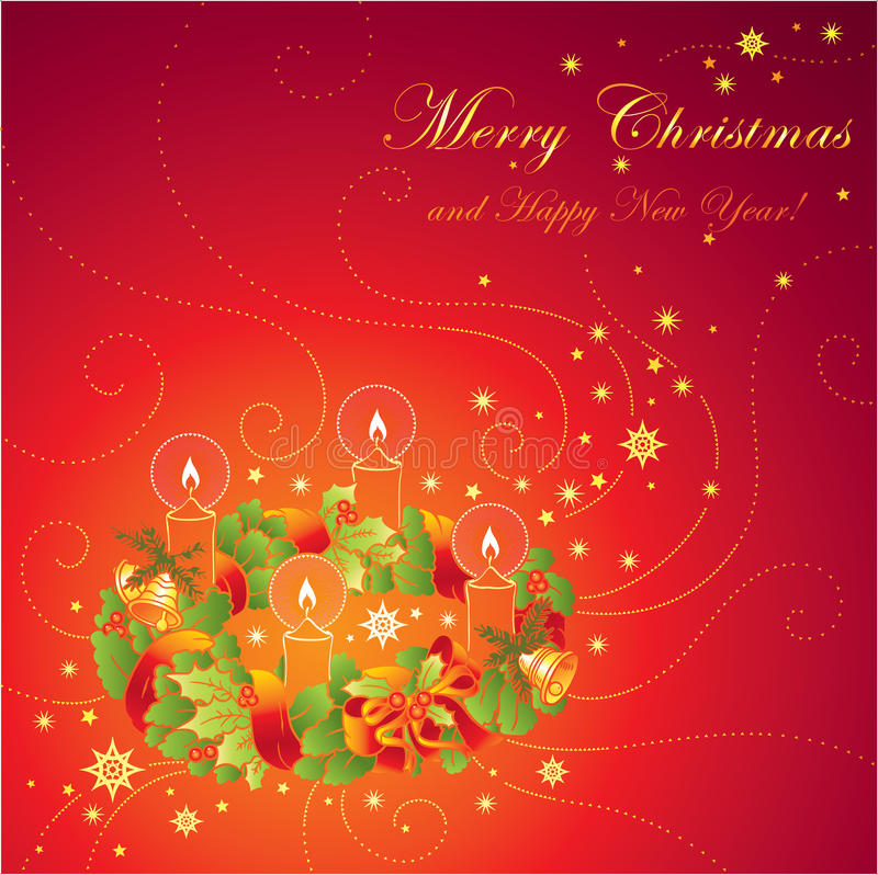 Download Christmas Greeting Card With Wreath And Ca Stock Illustration - Image: 14278713