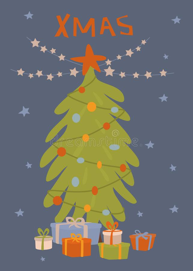 Christmas greeting card with xmas tree, gift boxes and star garland vector illustration royalty free illustration