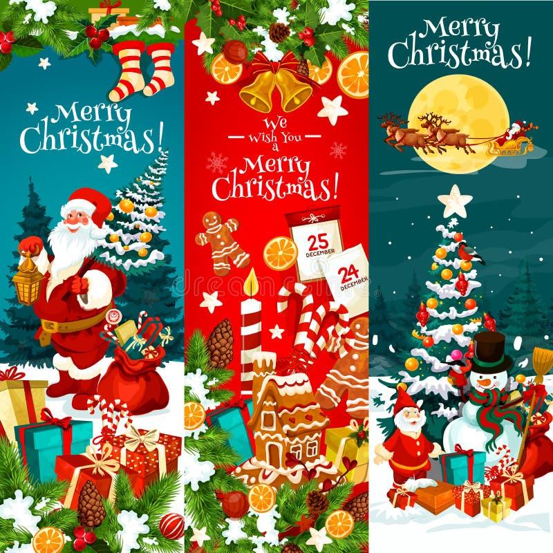 Christmas greeting card with Xmas tree, Santa gift. Merry Christmas banner with Xmas tree and Santa gift. Snowman, Santa Claus and present box greeting card vector illustration