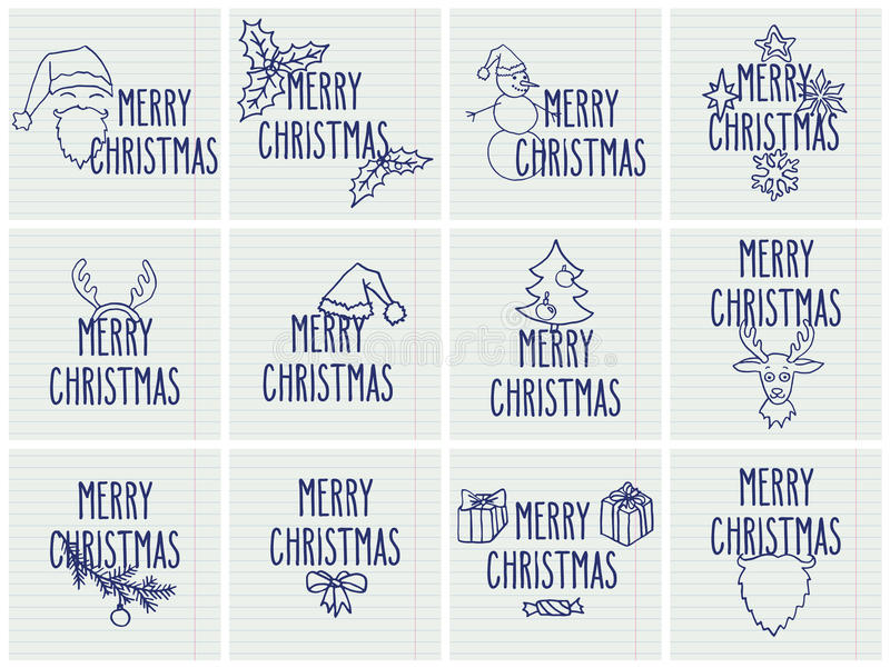 Christmas greeting cards. Set of Christmas hand drawn contour doodle greeting cards with hand written Merry Christmas words over lined notebook page stock illustration