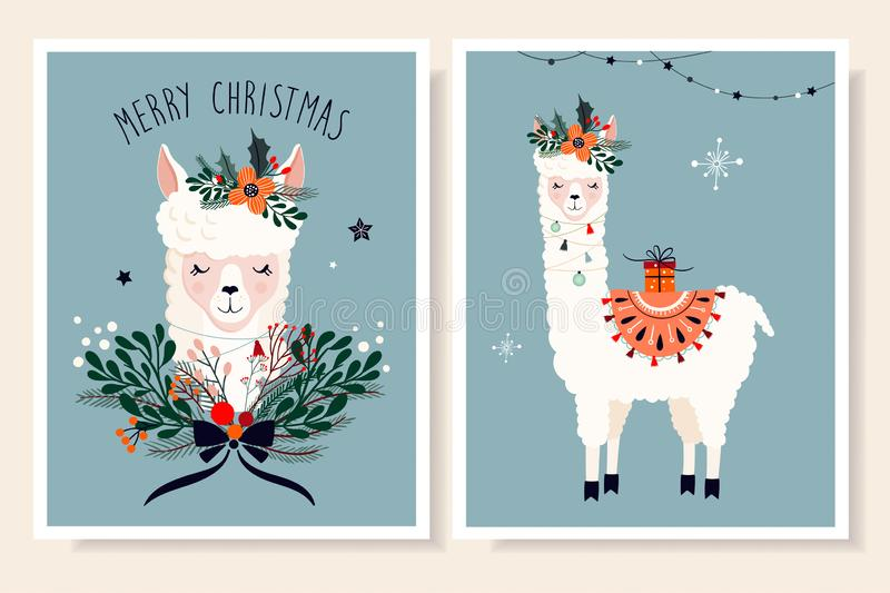 Christmas greeting cards set with hand drawn cute llama vector illustration
