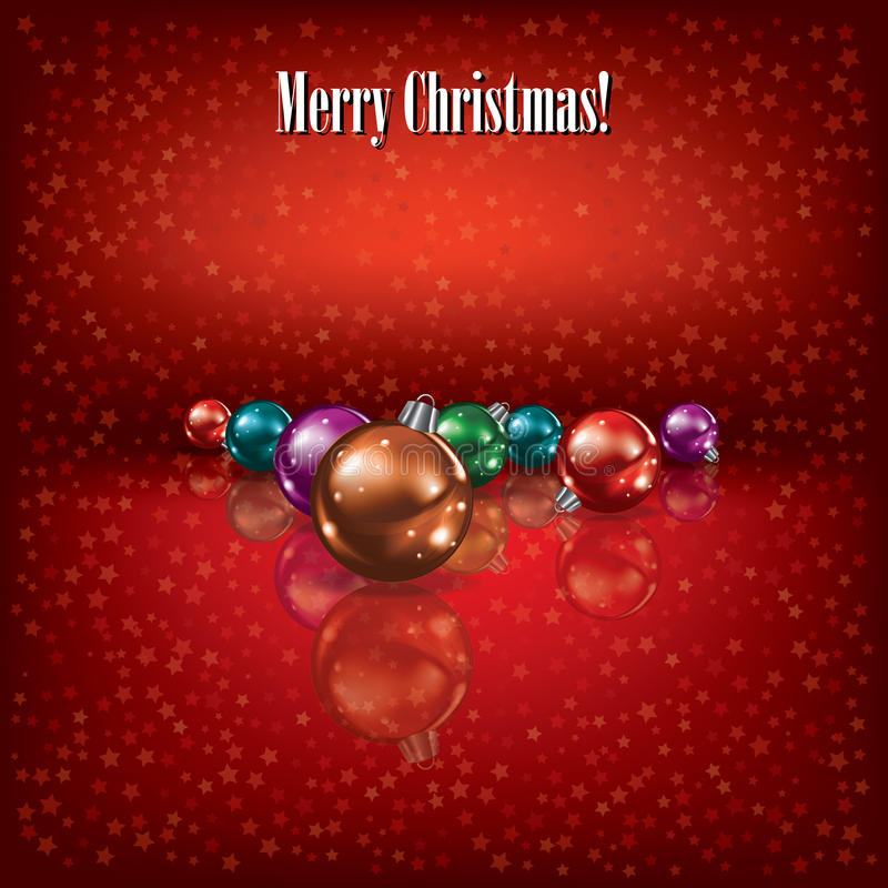Christmas greeting with decorations on red vector illustration