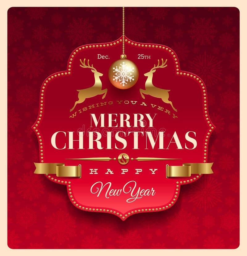 Christmas greeting decorative label royalty free illustration