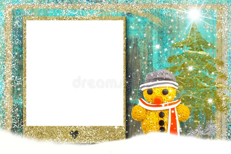 Christmas background with gingerbread man. A Christmas greeting with a gingerbread man and copyspace stock photography