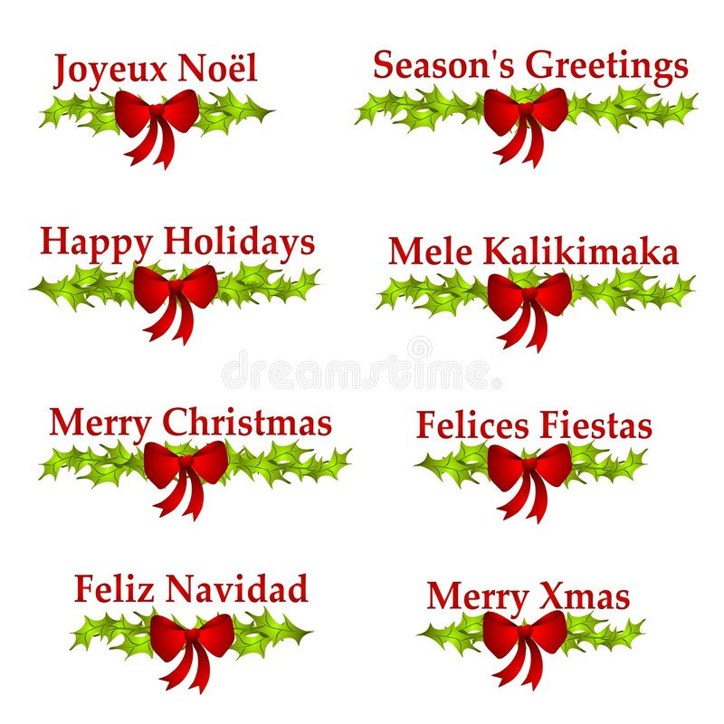 Christmas Greeting Logos or Banners. A clip art illustration of 8 different holiday greetings including - Joyeux Noël, Season's Greetings, Happy Holidays stock illustration