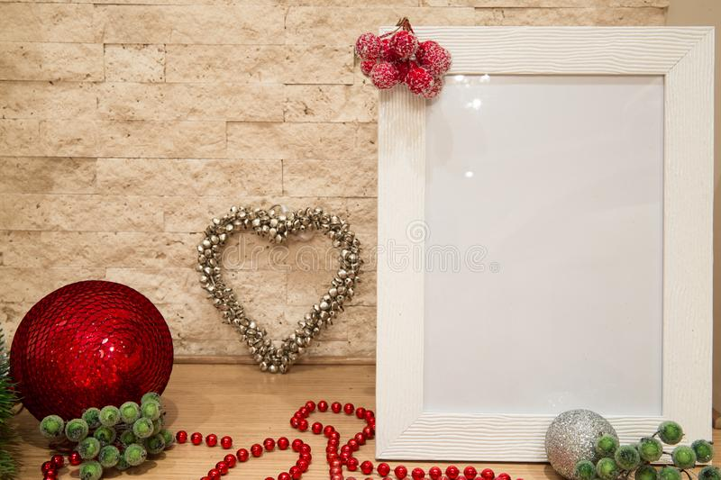 Christmas greeting mock up with red and silver decorations and b royalty free stock images