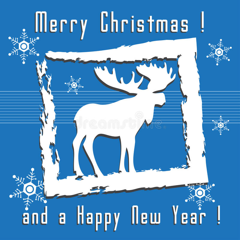 Download Christmas Greeting With Moose Stock Vector - Image: 34921258