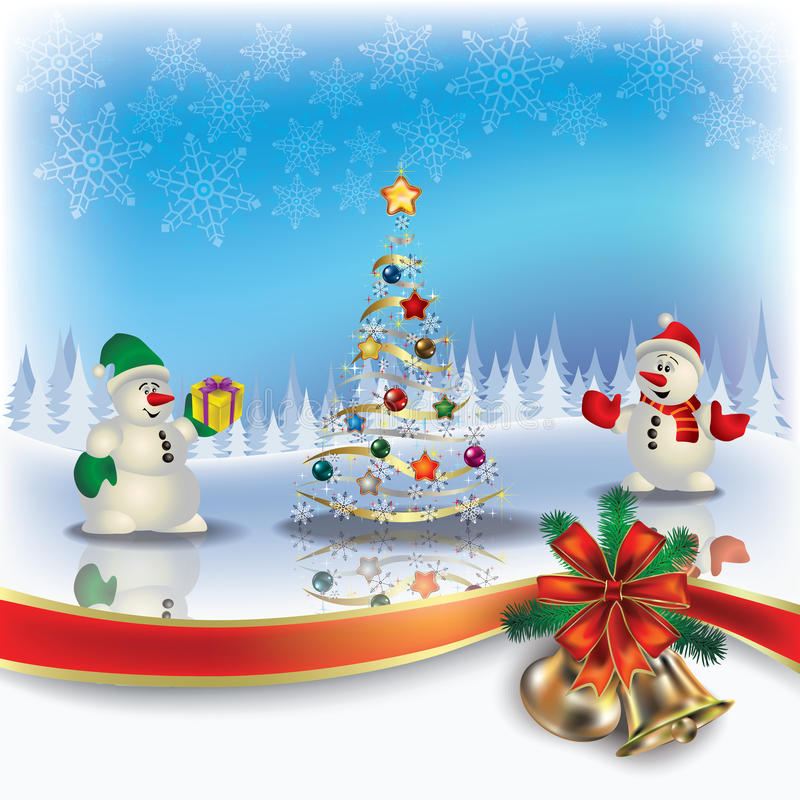 Christmas greeting with snowmen and tree stock illustration