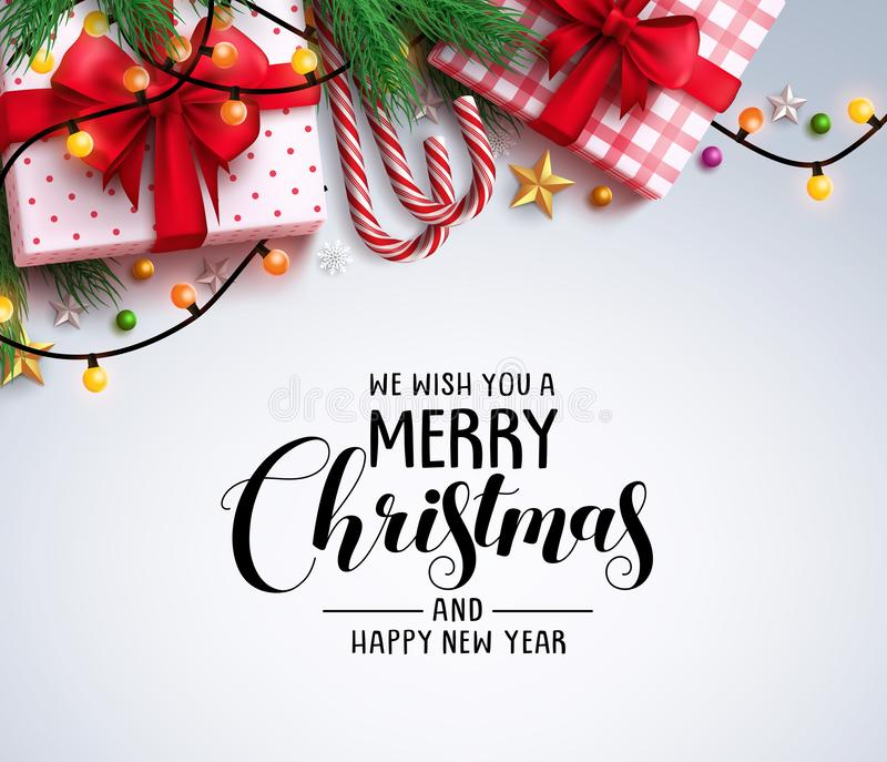 Christmas greeting vector background with text and colorful christmas elements. Like gifts, candy cane and lights in white background. Vector illustration vector illustration