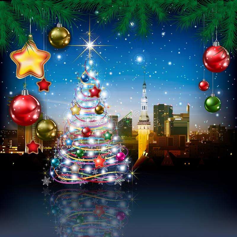 Free Christmas Greeting With Panorama Of City Royalty Free Stock Photo - 102016365