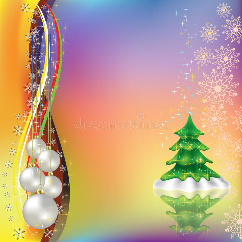 Free Christmas Greeting With Tree And Balls Stock Images - 16545874