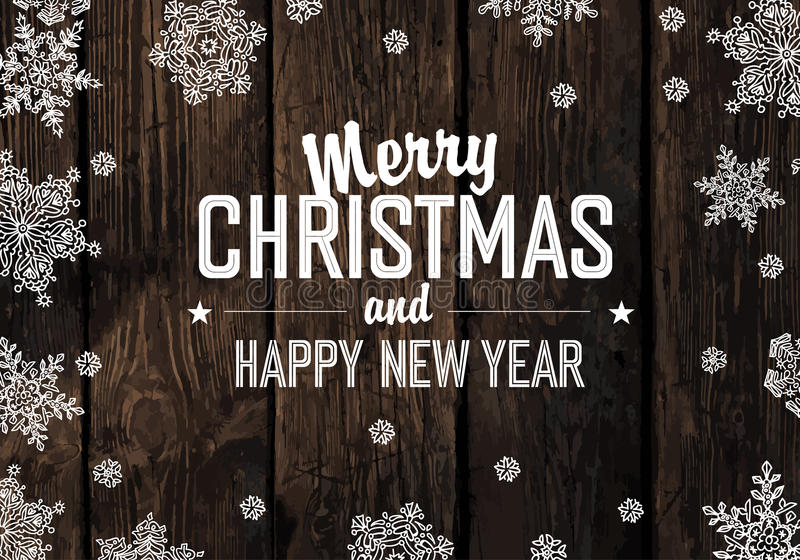 Christmas Greeting On Wooden Planks Texture. Vector royalty free illustration