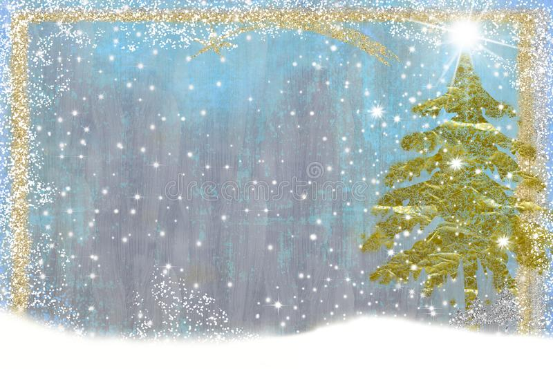 Christmas greetings card, fir tree stock illustration