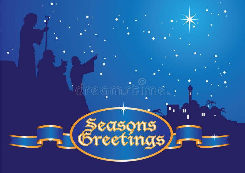 Christmas greetings shepherds vector illustration