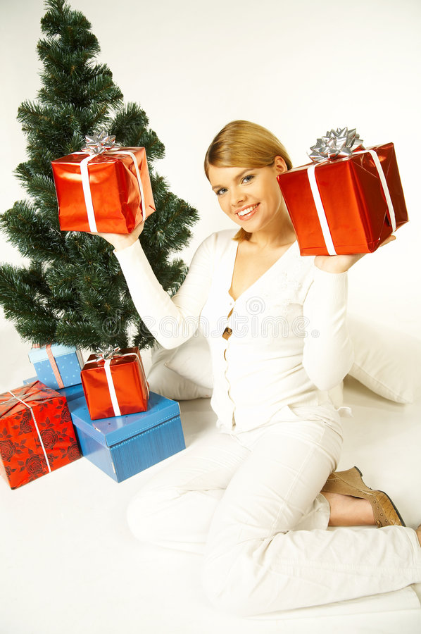 Download Christmas Gril stock photo. Image of person, store, gift - 1412718