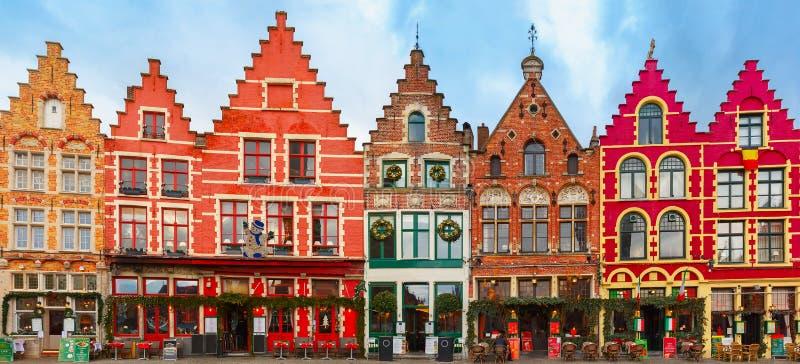 Christmas Grote Markt square of Brugge, Belgium. Christmas Grote Markt square in the beautiful medieval city Brugge at morning, Belgium stock photography
