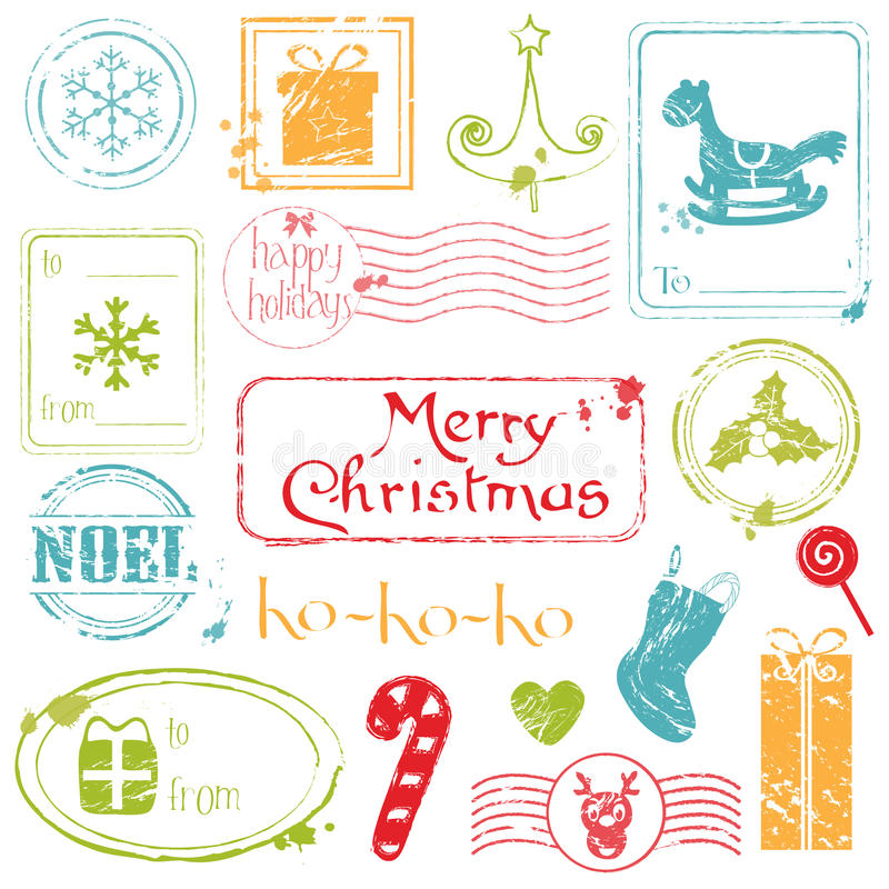 Download Christmas Grunge Stamps Collection Stock Vector - Image: 22231391