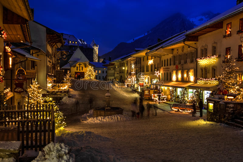 Christmas in Gruyere, Switzerland. Christmas decorations in the village of Gruyere, Fribourgh canton, Switzerland royalty free stock photo