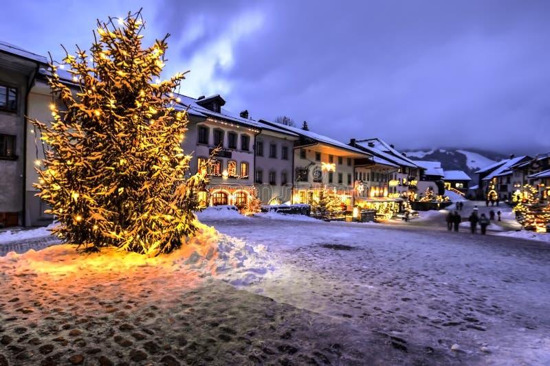 Christmas in Gruyere, Switzerland. Christmas tree in the village of Gruyere, Fribourgh canton, Switzerland stock image