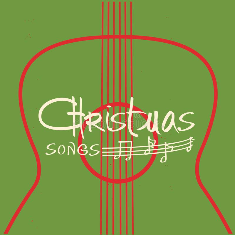 Christmas guitar music poster.Vector old background with acoustic guitar royalty free illustration