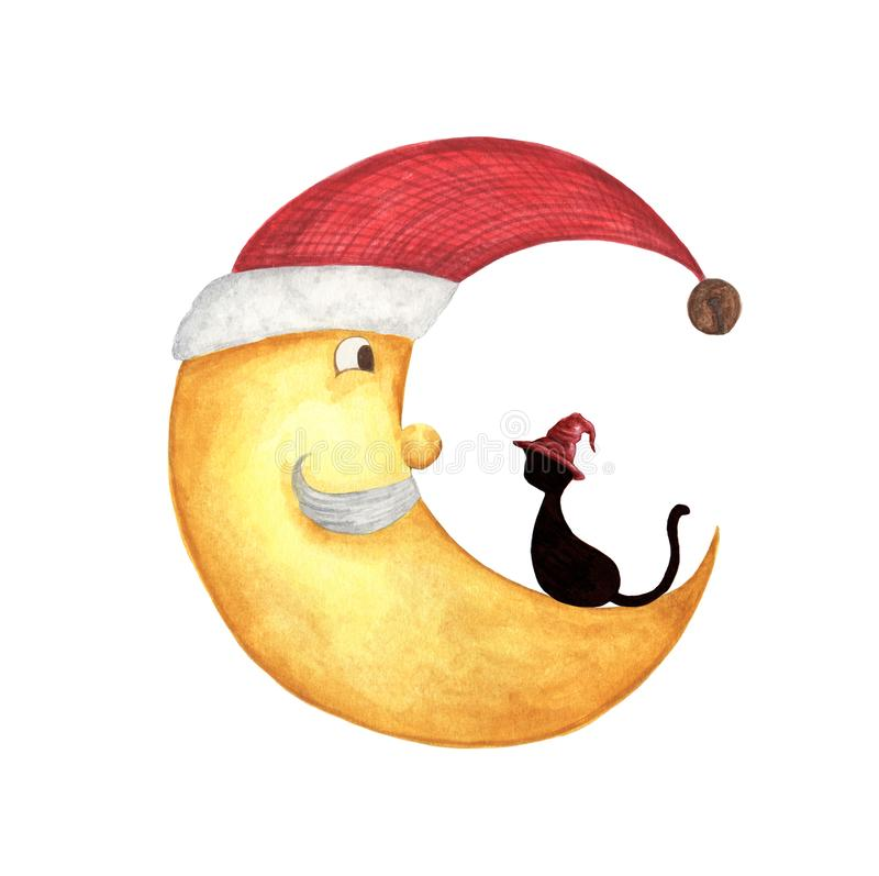 Christmas half moon face with black cat. Half moon in a red santa hat, bearded old man, isolated on white background. Watercolor illustration vector illustration