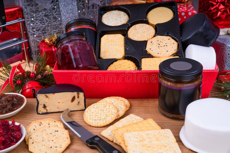 Cheese and Crackers Christmas Hamper. Christmas Hamper with a selection of Cheese, Crackers and Pickles royalty free stock photography