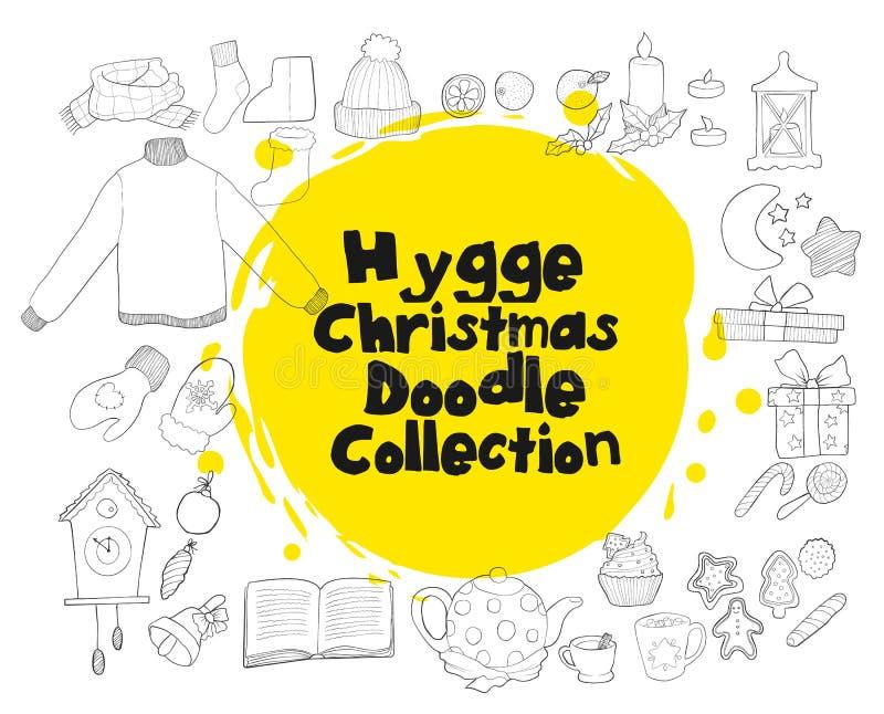 Christmas hand draw doodle collecion of holidays item stock illustration