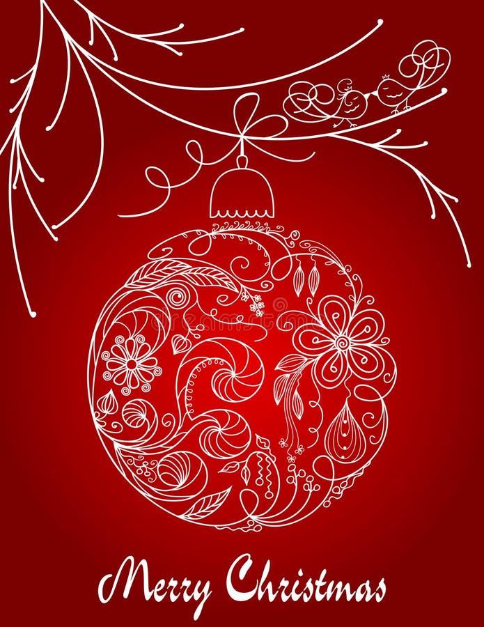 Christmas hand drawn ball royalty free stock photo