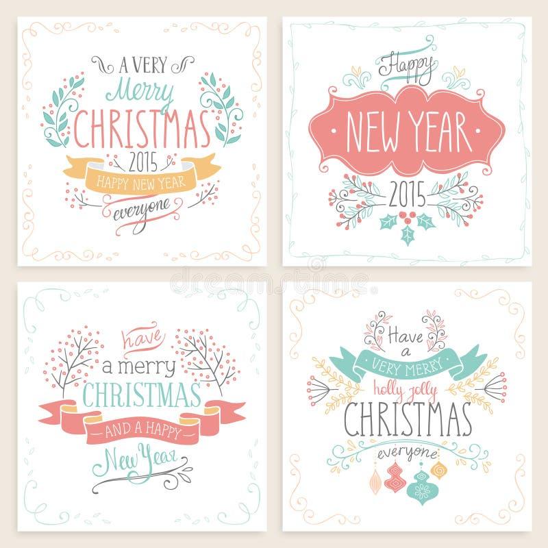 Christmas hand drawn card set. Vector illustration vector illustration