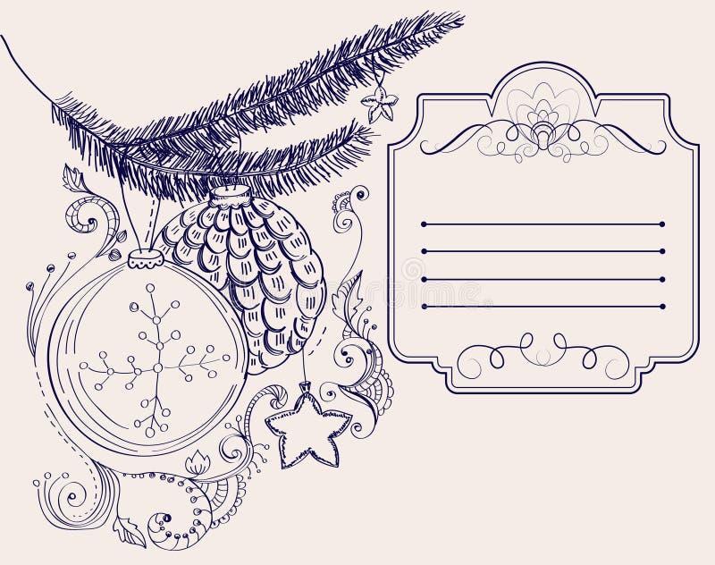 Christmas hand drawn card for Xmas design royalty free illustration