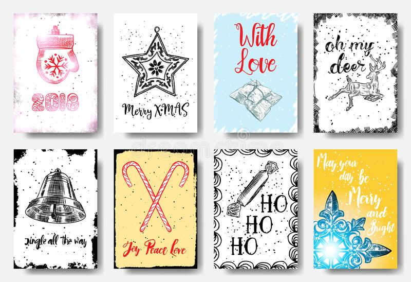 Christmas hand drawn cards with calligraphy 2018, Merry X MAS, w royalty free illustration