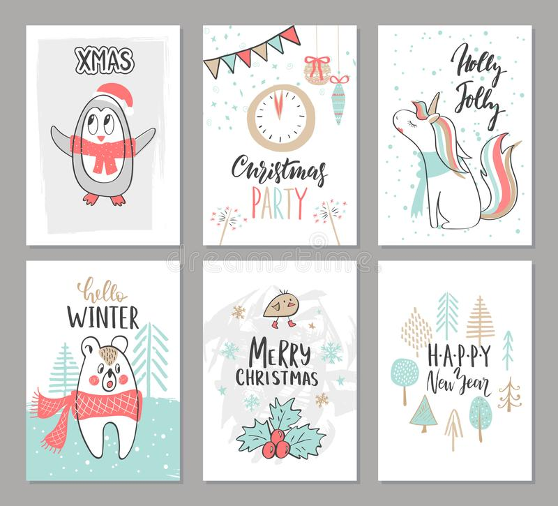 Christmas hand drawn cute cards with penguin, unicorn,bear, bird, trees and other elements. Vector illustration. royalty free illustration