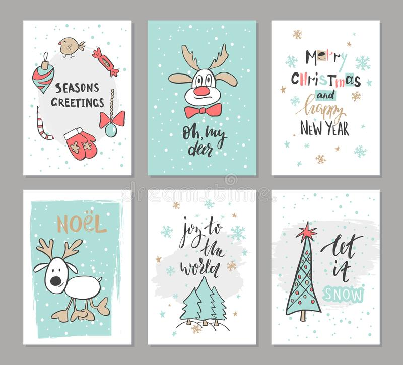 Christmas hand drawn cute cards with reindeer, trees, candy , mitten, bird and other items. Vector illustration royalty free illustration