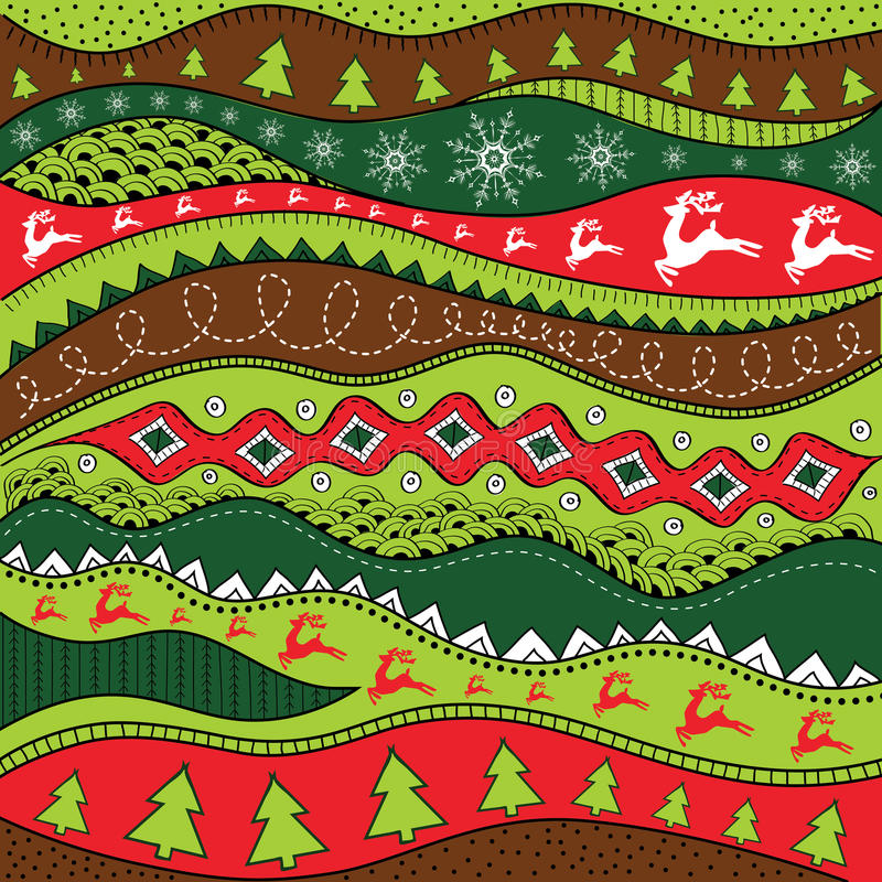 Christmas hand-drawn ethno pattern, tribal background. Merry Christmas design. It can be used for wallpaper, web page and others. vector illustration