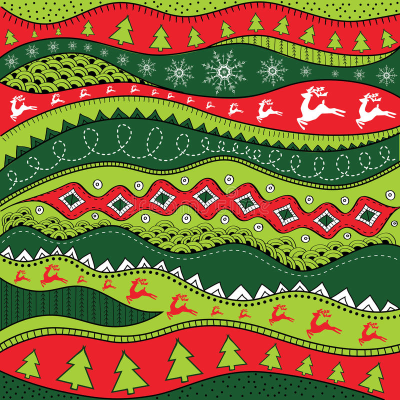 Christmas hand-drawn ethno pattern, tribal background. Merry Christmas design. It can be used for wallpaper, web page and others. stock illustration