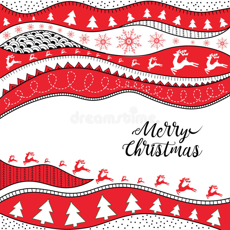 Christmas hand-drawn ethno pattern, tribal background. Merry Christmas design. It can be used for wallpaper, web page and others. royalty free illustration