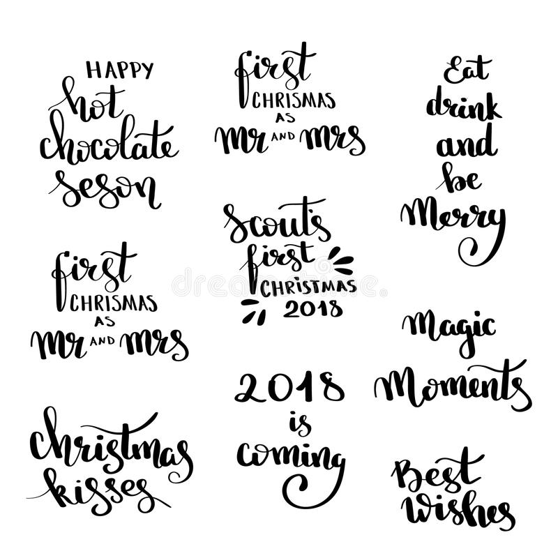 Christmas hand drawn lettering Design set. Handwritten Christmas quotes and wishes modern calligraphy lettering for postcards, tag stock illustration