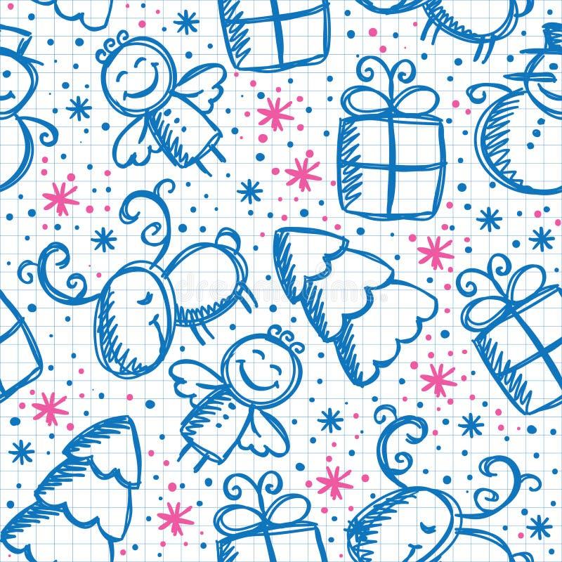 Christmas hand drawn seamless pattern vector illustration