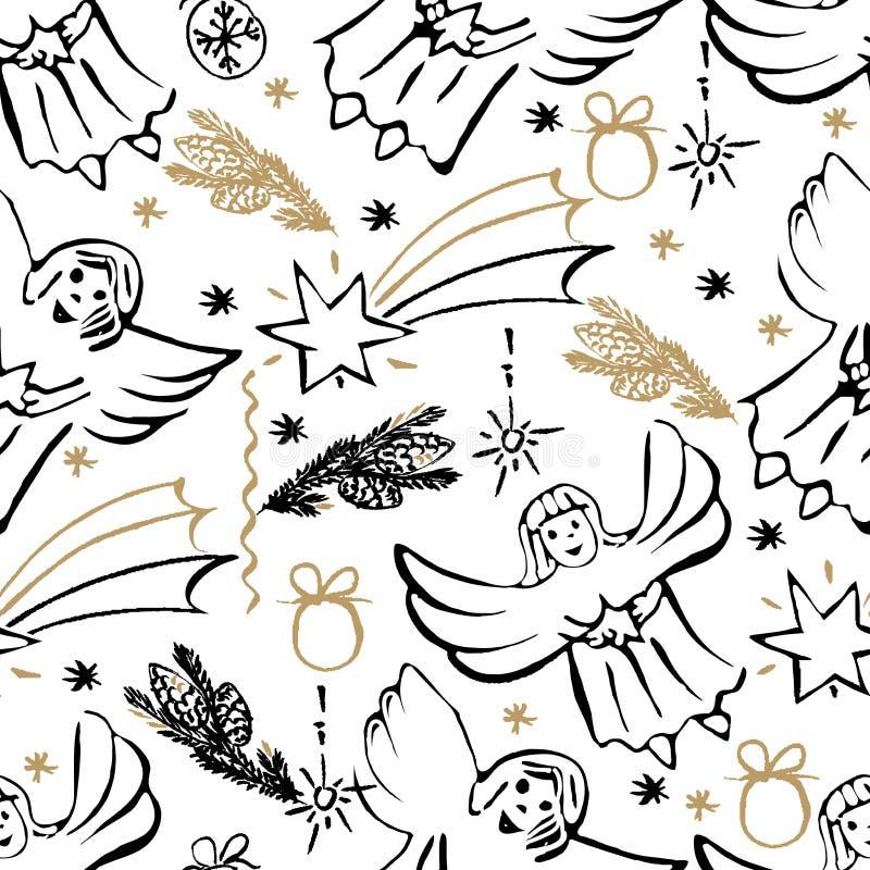 Christmas hand drawn seamless pattern. stock illustration