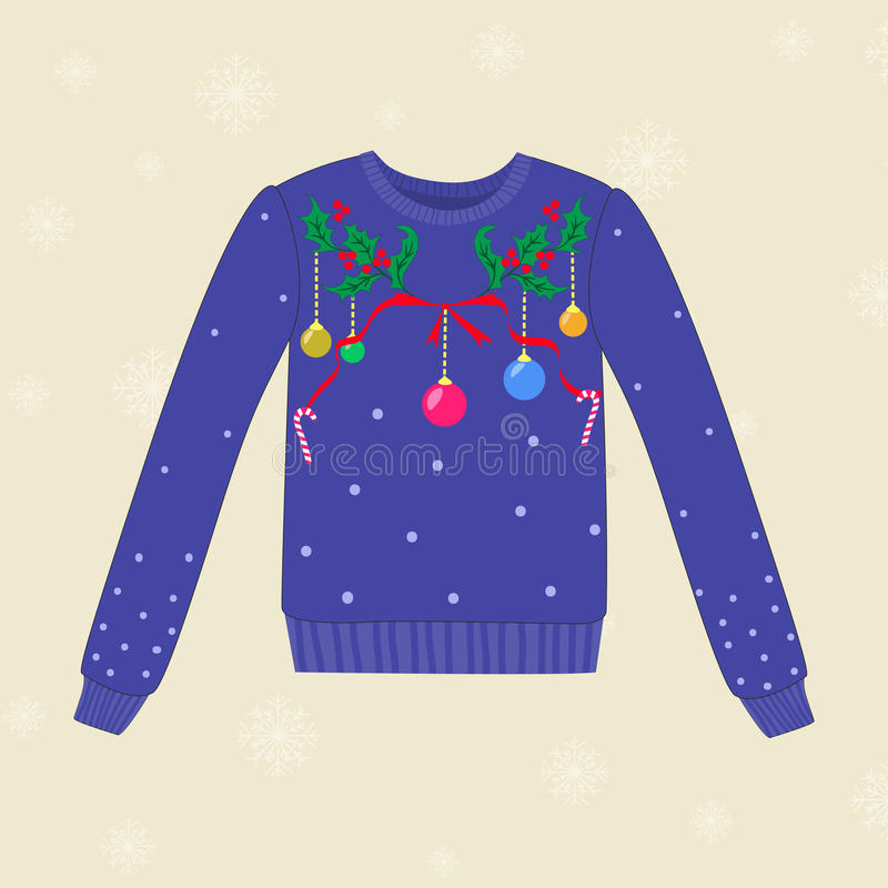 Free Christmas Hand Drawn Sweater With Christmas Decorations Royalty Free Stock Photos - 57041938