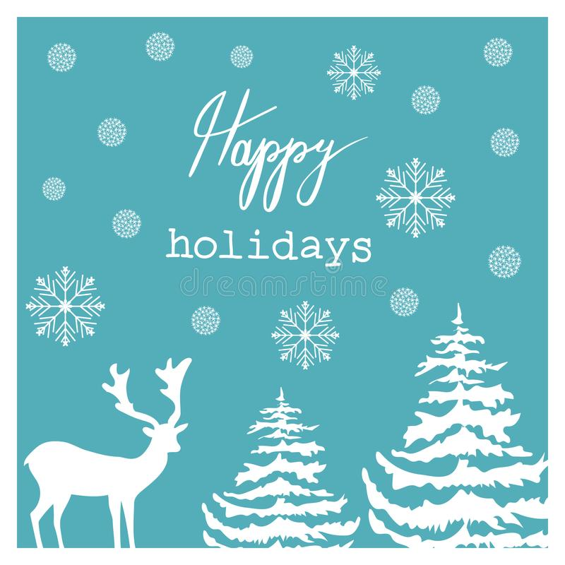 Christmas Hand Drawn Vector Greeting Card. White Deer Fir Trees Snow Flakes Wonderland. Blue Background. Calligraphic Lettering royalty free illustration