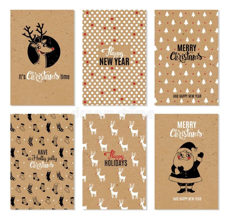 Christmas hand drawn vector printable cards. royalty free stock photo