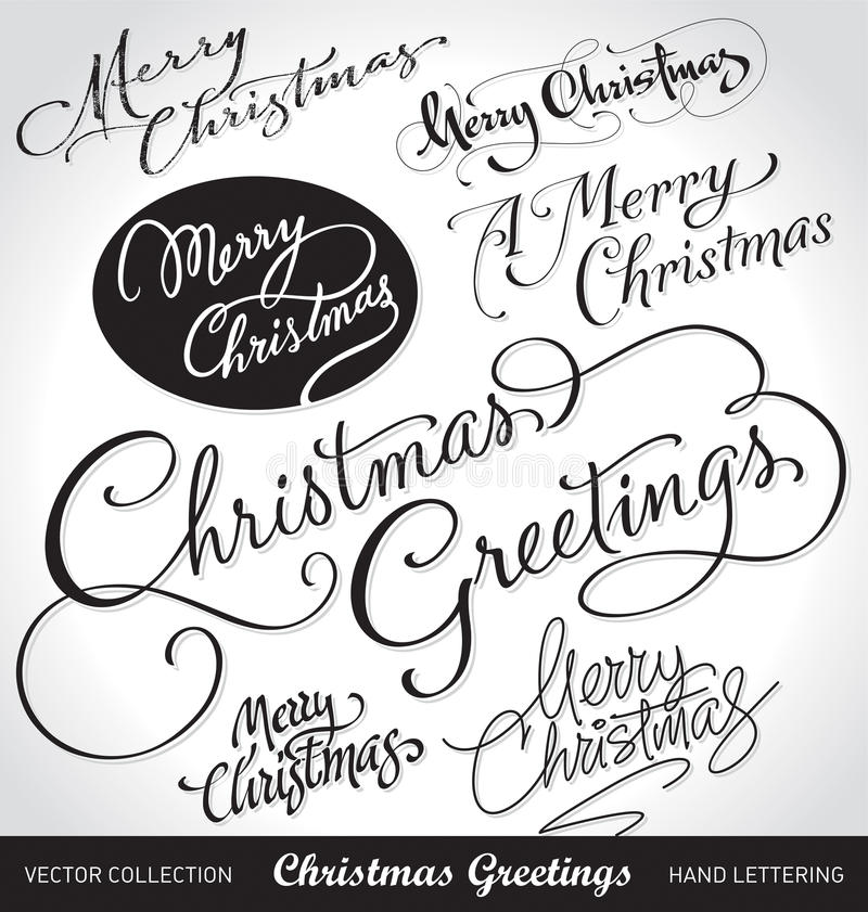 Christmas hand lettering set (vector) royalty free stock photography