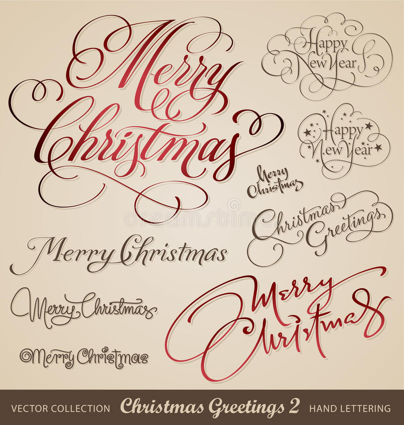 Christmas hand lettering set (vector) royalty free illustration