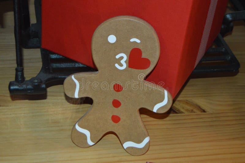 Christmas handmade gingerbread man art stock photo