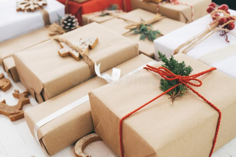 Rustic craft gift boxes. royalty free stock image