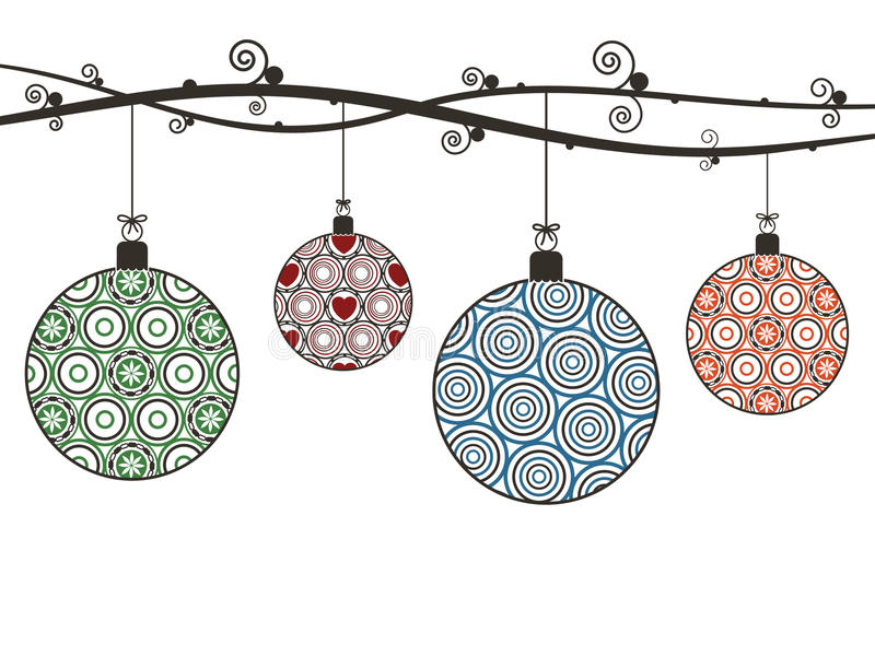 Christmas hanging decorations royalty free illustration