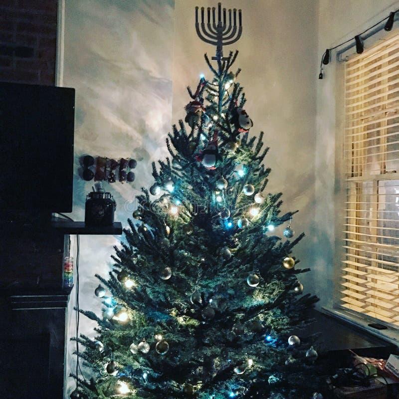 Christmas Hanukkah tree stock photo