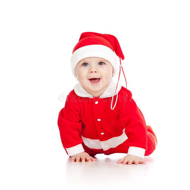 Christmas happy baby is crawling stock images