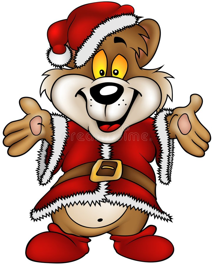 Christmas Happy Brown Bear stock illustration